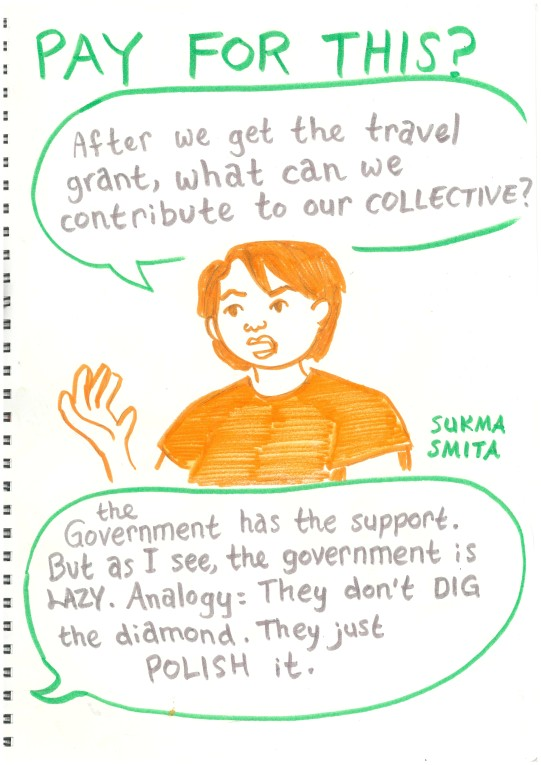 """Sukma: """"After we get the travel grant, what can we contribute to our collective?"""" Terra (Who is gesturing towards an illustration of a diamond): """"the Government has the support. But as I see, the government is LAZY. Analogy: They don't DIG the diamond. They just POLISH it."""""""