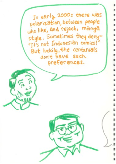 """talking heads"" of Alva, Hikmat, and Azisa. Alva: ""In early 2000s there was polarization, between people who like, and reject, manga style. Sometimes they deny - ""It's not Indonesian comics!"" But luckily, the centennials don't have such preferences."""