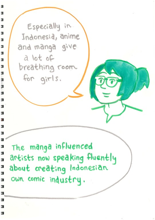 """Azisa: """"Especially in Indonesia, anime and manga give a lot of breathing room for girls."""" Hikmat: """"The manga influenced artists now speaking fluently about creating Indonesian own comics industry."""""""