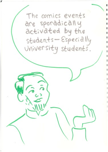 "Labeled drawing of Alva. Bubble: ""The Comics events are sporadically activated by the students - Especially university students."
