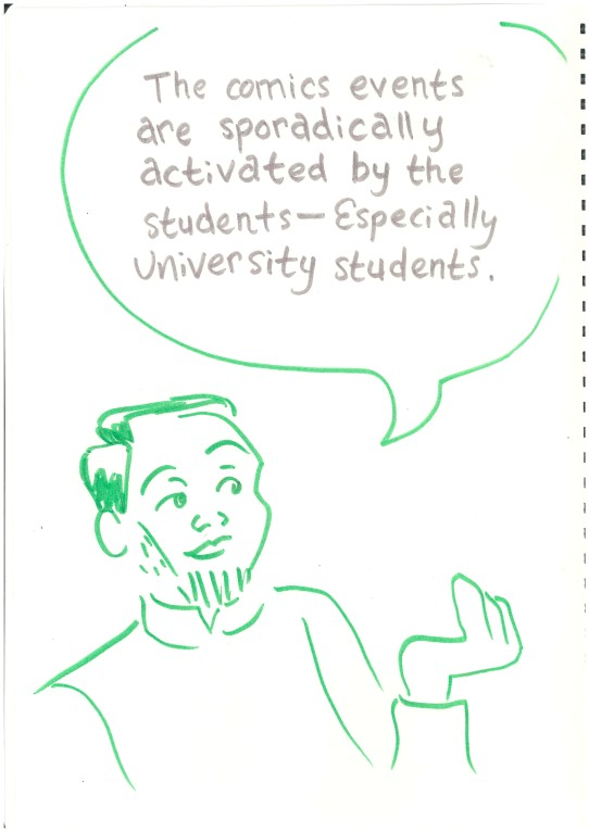 """Labeled drawing of Alva. Bubble: """"The Comics events are sporadically activated by the students - Especially university students."""