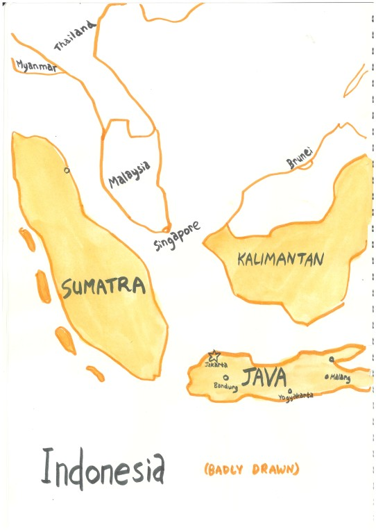 """These 2 images form one large map of Indonesia. (With the label """"Indonesia, badly drawn""""."""